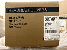 1 Case500 Henry Schein 102 8451 Cover Headrest 10 X 10 Green Tissuepoly