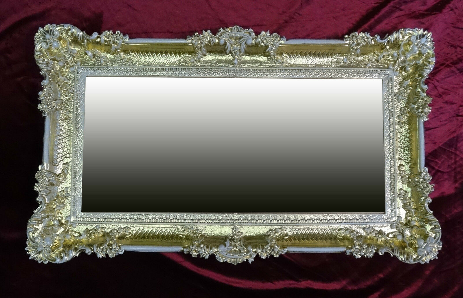XXL Miroir mural rectangulaire Or Blanc Baroque décoration ancien 96x57 WOW