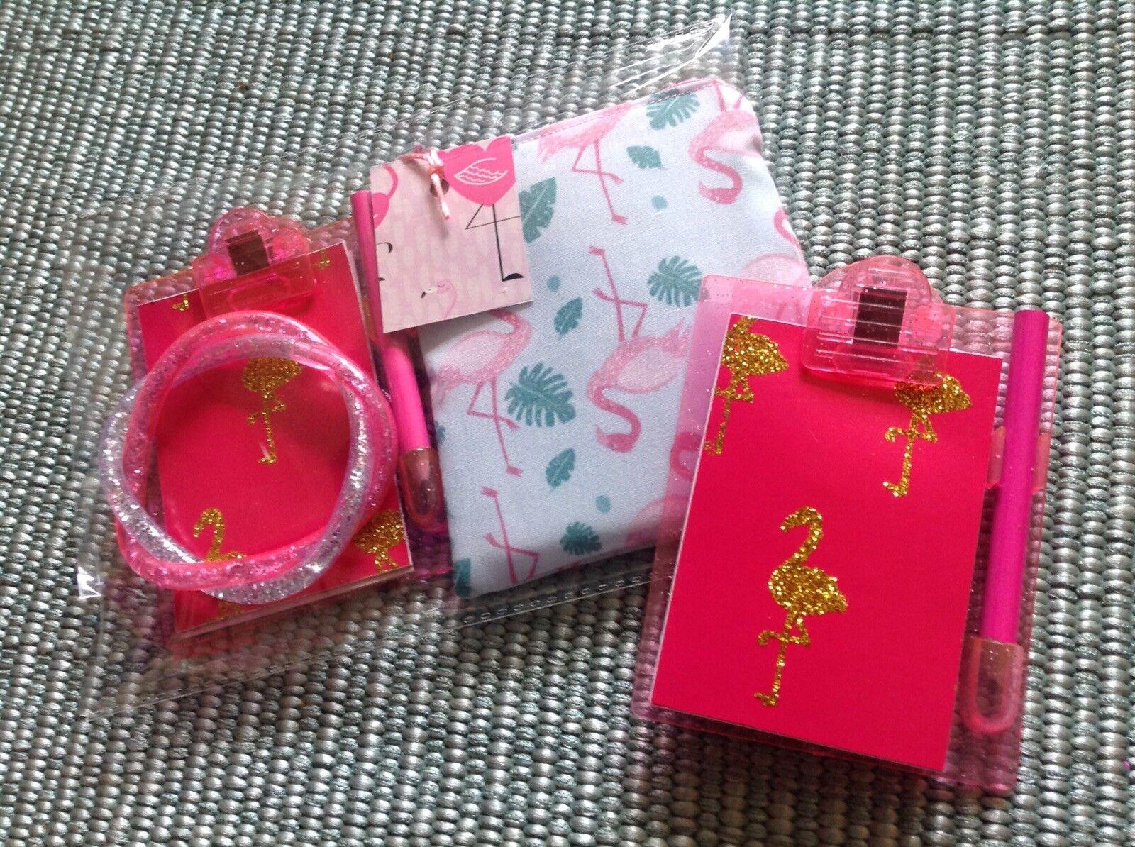 Retro Flamingo Glitter Clip Board Notebook +Purse +bracelet 3pc Gift Set