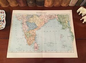 Original 1892 Antique Map SOUTHERN INDIA Bangalore Madras Calcutta Bombay Mumbai