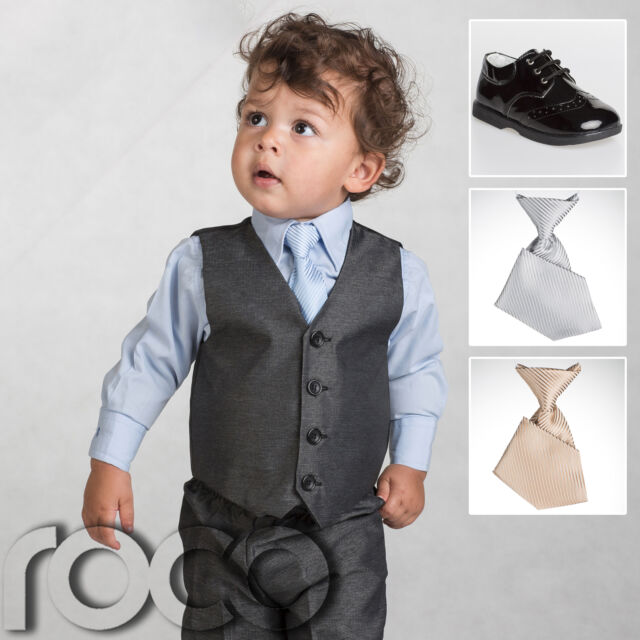 bbdb7ccc0 Boys Grey Suit, Page Boy Suits, Baby Boys Black Shoes, Boys Elasticated Tie