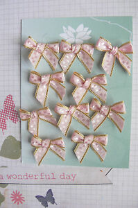 Satin-Bows-2-5cm-10-PINK-Embroidered-with-GOLD-lines-on-both-Edges-GreenTara-B
