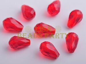 10pcs-15X10mm-Teardrop-Faceted-Crystal-Glass-Loose-Spacer-Beads-Red