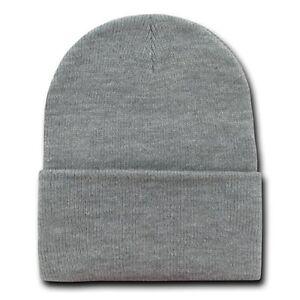 8c6b375c956186 Heather Grey 12 Inch Cuffed Long Knit Beanie Ski Cap Caps Hat Hats ...