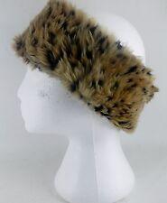 Ladies Faux Fur Leopard Fashion Funky Headband Stylish Ski Winter Earwarmers NEW
