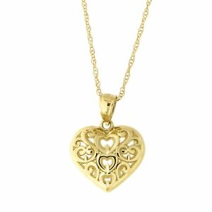 390770eca Image is loading 10k-Yellow-Gold-Filigree-Heart-Pendant-Necklace