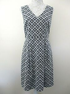 Monsoon-skater-dress-size-12-black-with-white-floral-embroidery-holiday-unusual