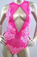 Victorias Secret Dream Angels Floral Lace Fishnet High Neck Cut-out Bodysuit S