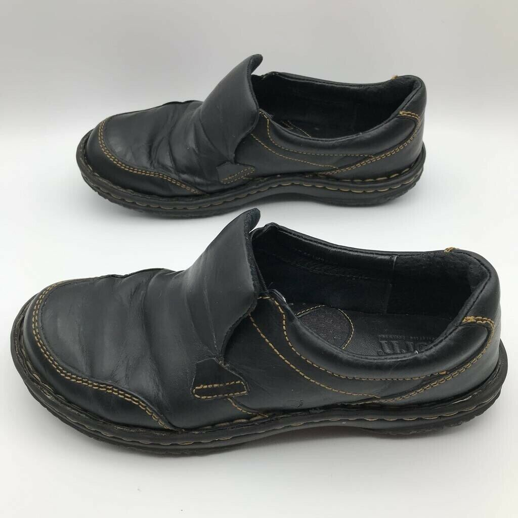 Born Womens Loafers Shoes Shari Black Leather Stitched Slip On US 6.5 M
