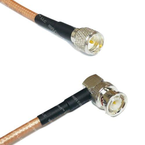 RG400 Silver Mini UHF Male to BNC MALE ANGLE Coax RF Cable USA Lot