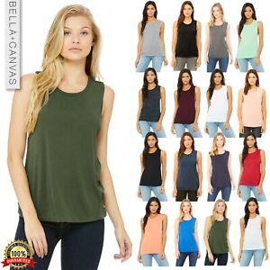 Bella-Canvas-Women-039-s-Flowy-Scoop-Muscle-Tank-Top-Shirt-B8803-Sleeveless-Vest