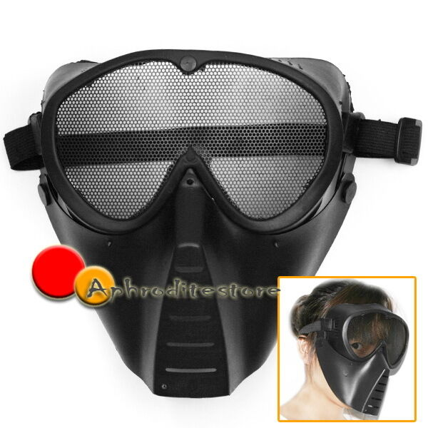 Black Army Skull Skeleton Airsoft Paintball BB Gun Game Full Face Protect Mask