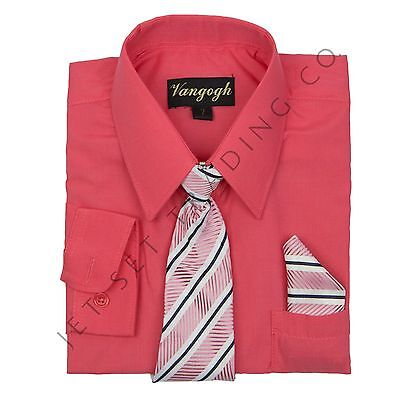 BOYS NEW MELON DRESS SHIRT WITH MATCHING TIE & HANKIE LONG SLEEVE Sizes 4 - 20