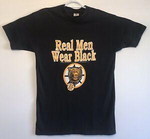 vtg-Vintage-90s-1990-Boston-Bruins-Real-Men-Wear-Black-T-Shirt-NHL-Hockey-Large