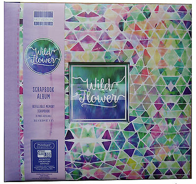 "First Edition 12"" x 12"" Scrapbook Album WILD FLOWER abstract geometric design"
