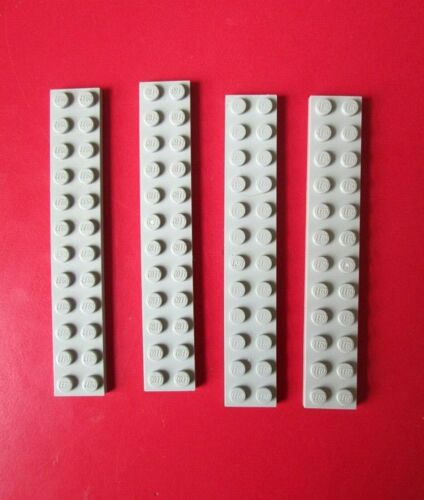 #2445 Dots Building Blocks Parts LEGO 2x12 LIGHT GREY PLATE 4 pieces