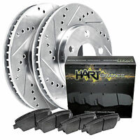 1995-1999 Neon Front Platinum Hart Drilled Slotted Brake Rotors And Ceramic Pads on sale