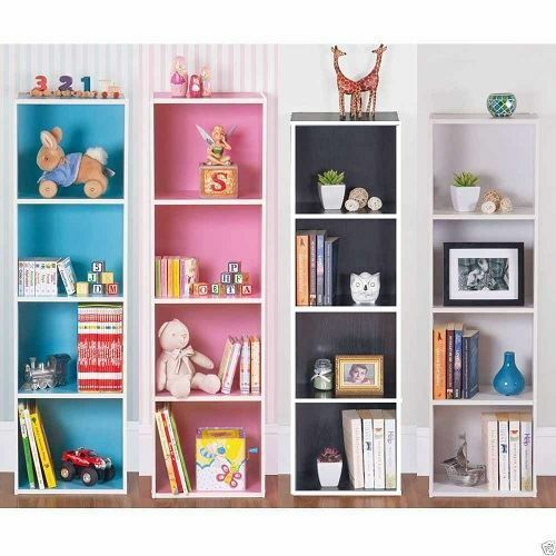 3 OR 4 TIER WOODEN BOOKCASE STORAGE SHELVING DISPLAY UNIT PINK BLUE WHITE BLACK