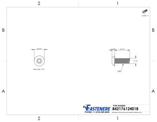 "4-40 x 5//16/"" Button Head Socket Cap Screws Black Oxide Alloy Steel Qty 100"