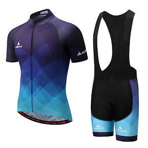 Blue Men s Cycling Kit Reflective Bike Jersey   Spandex Padded ... c4d21448a