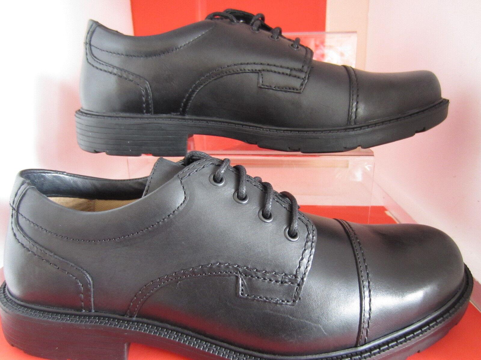 Clarks Negros Hombre LAIR Gorra Zapatos Negros Clarks De Piel Tamaños 6 x 12 Ajuste G (Mr. ) 2fdef2
