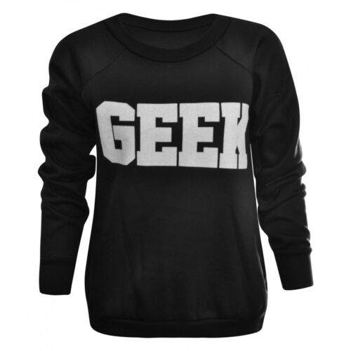 Womens Ladies Long Sleeve Cartoon Geek Print Pull Over Sweatshirt Jumper Top