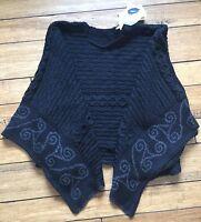 Connemara Knitwear 100% Irish Merino Wool Black Knit Sweater Shawl Poncho Os