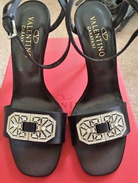 Valentino Señoras Zapatos Talla 8, jewled jewled jewled Seda Negra, Con Cristales, Preciosa    Nuevo Con Caja  muchas sorpresas