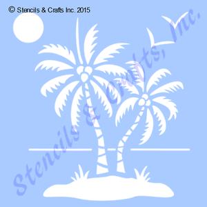 "5/"" PALM STENCIL STENCILS OCEAN SUN SEA BIRDS BIRD SAND PALMS TEMPLATE CRAFT NEW"
