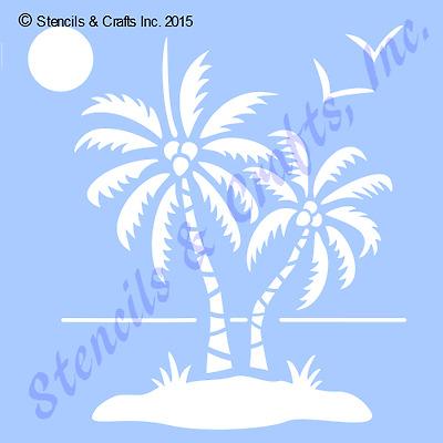 """5 1//2/"""" PALMS STENCIL STENCILS OCEAN SUN NAUTICAL BIRDS BEACH TEMPLATE CRAFT NEW"""