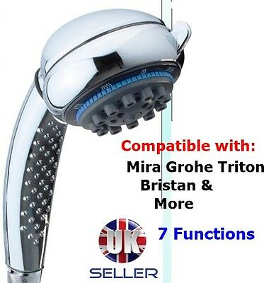 Shower Head  Chrome 7 FUNCTIONS *Replaces Mira Grohe Triton Aqualisa* NEW