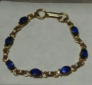 Vintage-Scarab-Style-Lune-Brillante-Royal-Bleu-Cabochon-or-Ton-7-5-034-Bracelet-7N