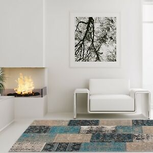 haute-qualite-hangefertigter-Cocoon-Vintage-Tapis-patchwork-beige-marron-bleu
