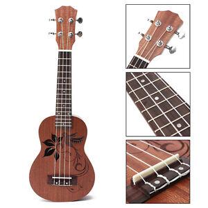 Professional-21-039-039-Soprano-Ukulele-Flower-Uke-Sapele-15-Frets-Musical-Instrument
