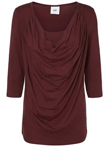 RRP-35-MAMALICIOUS-COWL-NECK-T-SHIRT-TOP-Maternity-Burgundy-Red-Jersey-M-12-14