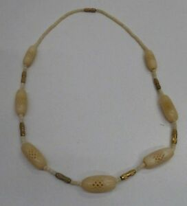 Vintage Carved Pierced Bovine Bone Carved Bead Necklace Ebay