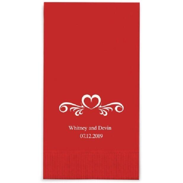 80 Heart Swirl Printed Rectangular Fold Wedding Dinner Napkins