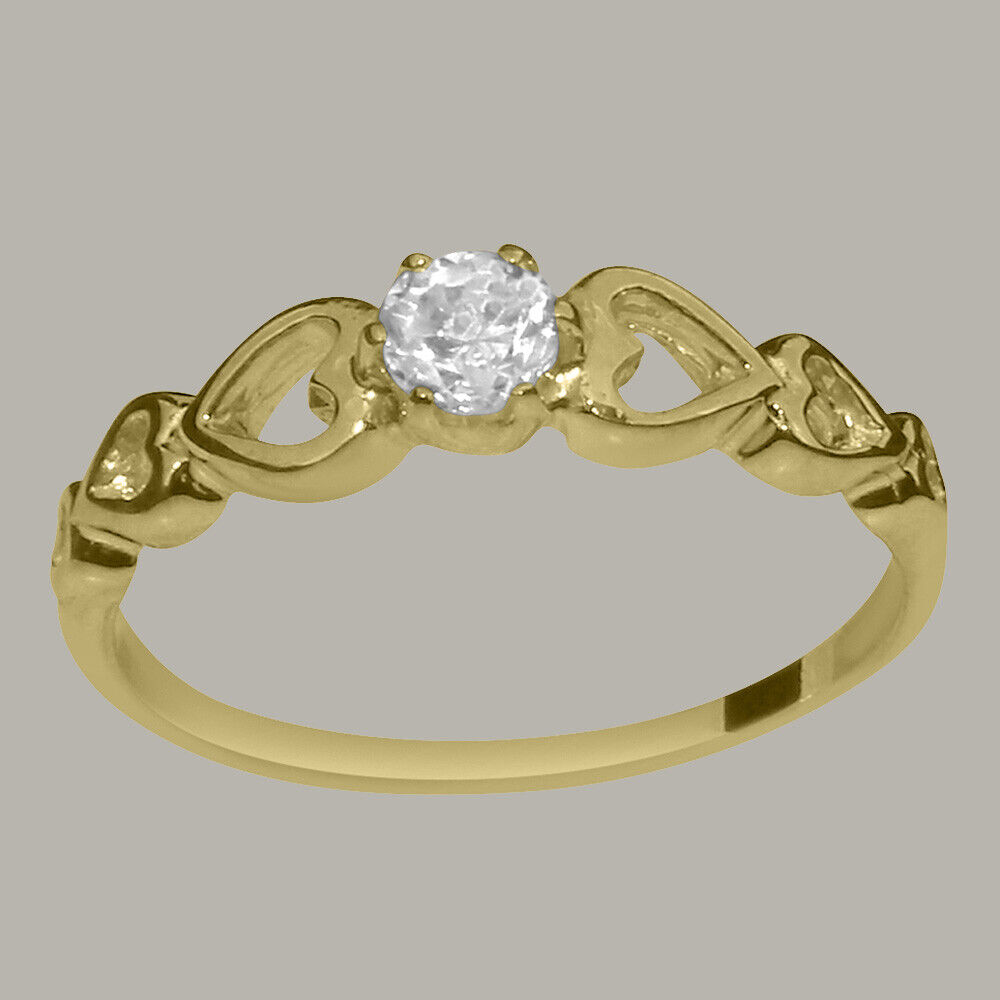 Solid 14ct Yellow gold Cubic Zirconia Womens Solitaire Ring - Sizes J to Z