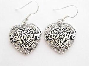 Cowgirl-Heart-Clear-Crystal-Earrings-Jewelry-Wire-hook-Equestrian-Western-Rodeo