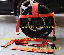 2ea (TWO) Tow Dolly Straps Premium Edge Adjustable Tie Axle Red Color