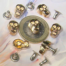 20 Calaveras Remaches Acero 12x8mm Acero  T35  Bisuteria Abalorios Tacks Rivets
