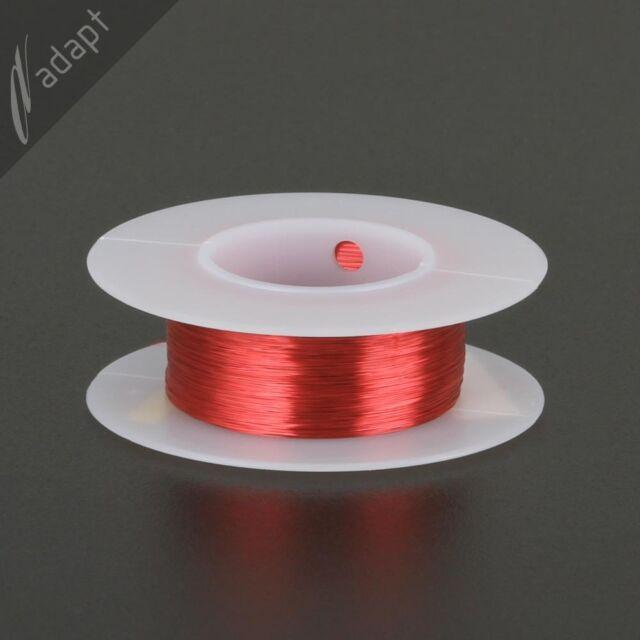 Magnet Wire, Enamelled Copper, Red, 36 AWG (gauge), 155C, ~1/16 lb, 775' HPN