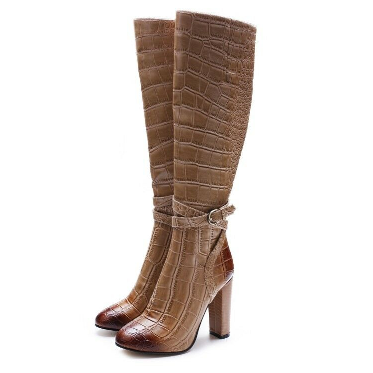 Women Chunky Block High Heel Mid Calf Boots Round Toe Buckle Over the Knee Boots