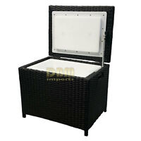 Portable Resin Wicker Ice Chest Patio Party Drink Cooler Pool Deck Picnic Bucket