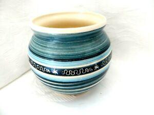 Vintage KAS Totland Bay Isla de Wight Turquesa Florero pequeño tazón de cerámica