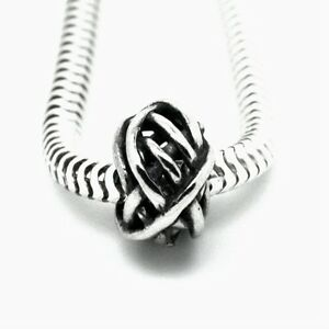 WIRE-BALL-Tangle-Weave-Genuine-Solid-925-sterling-silver-European-charm-bead