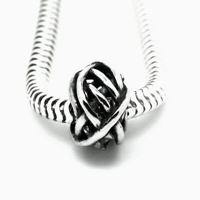 Wire Ball Genuine Solid 925 Sterling Silver European Charm Bead Tangle Weave