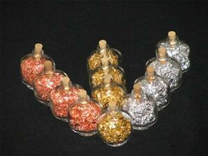 Lot of 12 Gold Flakes in 4 ML Glass Wish Bottles With Cork