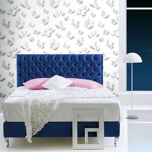 3d papillons paillet papier peint muriva j92709 argent brillant papillon ebay. Black Bedroom Furniture Sets. Home Design Ideas