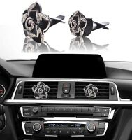 Bling Bling Car Accessories Interior Decoration For Girls Women - Black Flowers